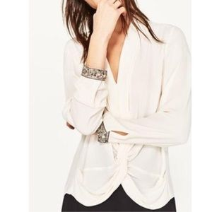 Zara Jeweled Cuff Sleeve Draped Knot Blouse